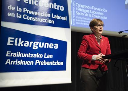 La consejera de Empleo y Asuntos Sociales, Gemma Zabaleta, durante su intervención