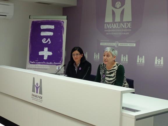 Izaskun Landaida y Ana Alberdi, directora y secretaria general de Emakunde