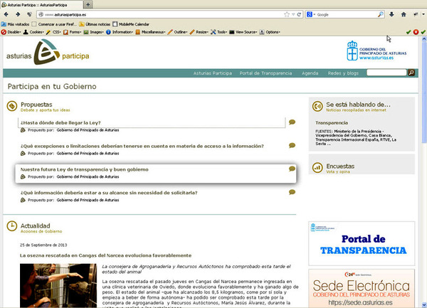 Página principal portal Asturias