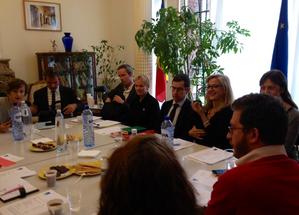 Aizpea Goenaga en la reunión de EUNIC, esta mañana en Bruselas