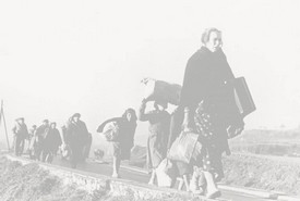 Refugiados vascos abandonan Euskadi camino del exilio.