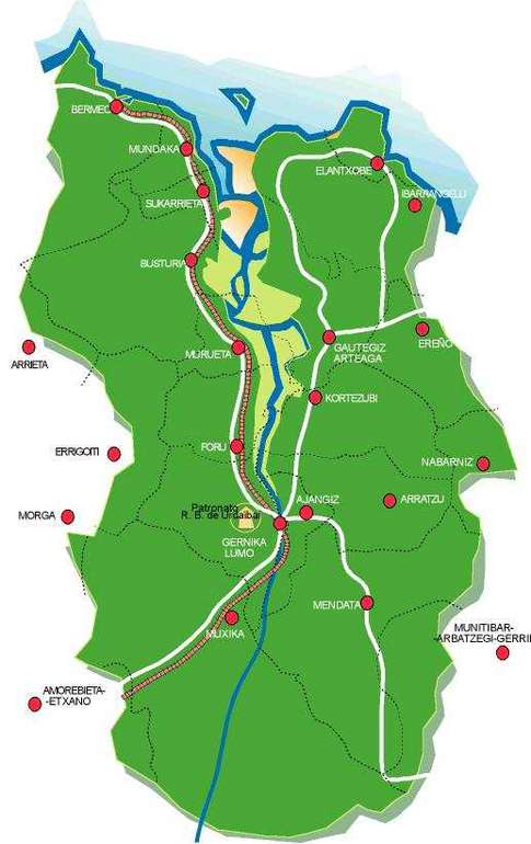 Municipios que constituyen la Reserva de la Biosfera de Urdaibai