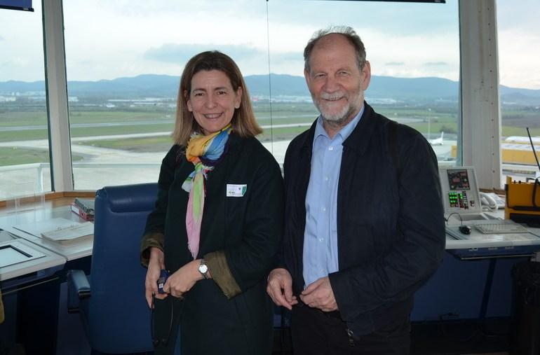 Oregi junto al presidente de la Comisión de Transportes del Parlamento Europeo en un reciente visita de éste a Vitoria Gasteiz