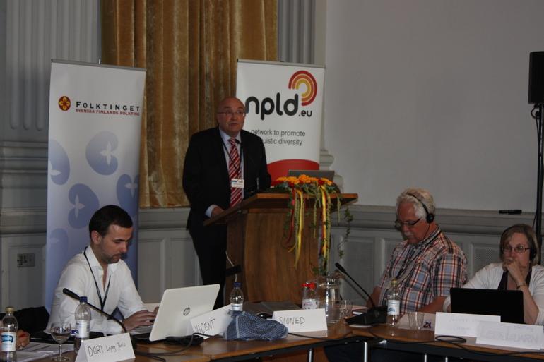 Patxi Baztarrika durante su intervención ante la Asamblea General de NPLD el pasado 11 de junio en Helsinki, tras ser elegido Presidente de la Red