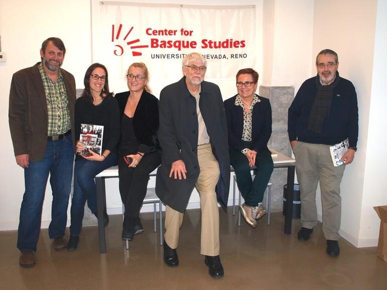 Montero, Camus, Goenaga, Douglass, Olaziregi y San Sebastián, en la presentación