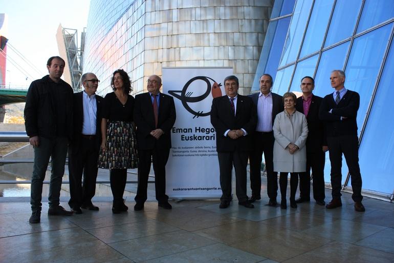 J Labaka(UEMA),M Irizar (GFA),L Bilbao(BFA) P Baztarrika (E. Jaurlaritza), J Prz de Heredia (AFA) k Narbaiza (Bilboko Udl) M Azkararte (Donostiako Udl) K Iturbe (EUDEL) JI Vidarte (Guggenheim)