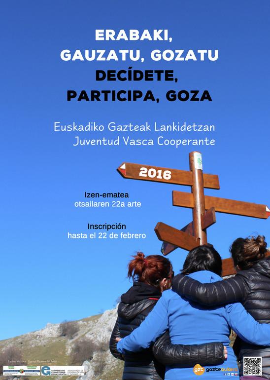 Un cartel de actividad de Juventud Vasca Cooperante