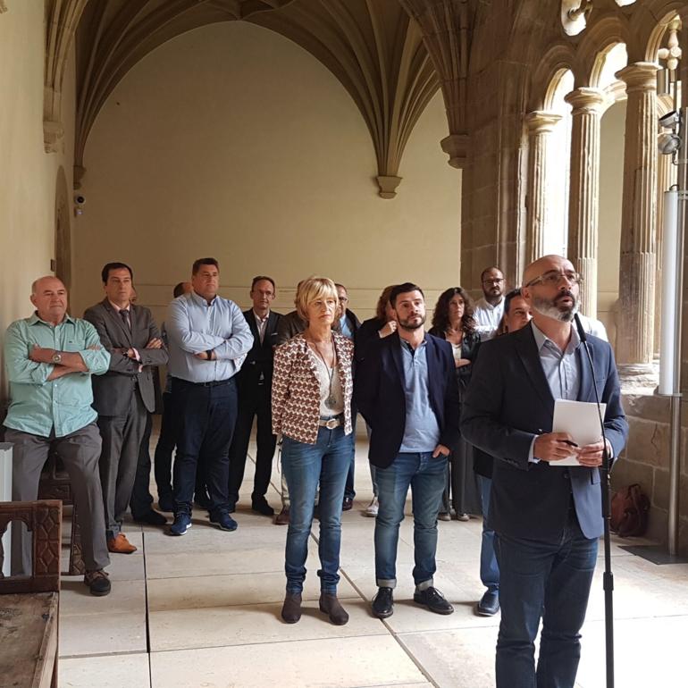 El director general de Basquetour,  Harkaitz Millán Etxezarreta, en el acto de apoyo al sector turístico