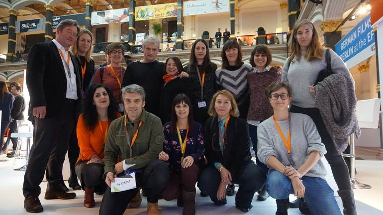 Junto al consejero Zupiria y Aitziber Atorrasagasti, representantes de Atera Films, Txintxua Films, Doxa Producciones, Morena Films, Tatui Media, Zinetxiki, Film Basque Country, Zineuskadi y Europa Creativa