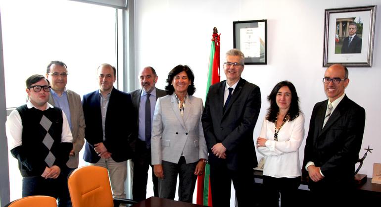 De izquierda a derecha, I. Pedreira, J. Losada, A. Zulueta, E. Martínez de Cabredo, E. Moreno, M. Lafleur, E. Urcelay y A. Calderón