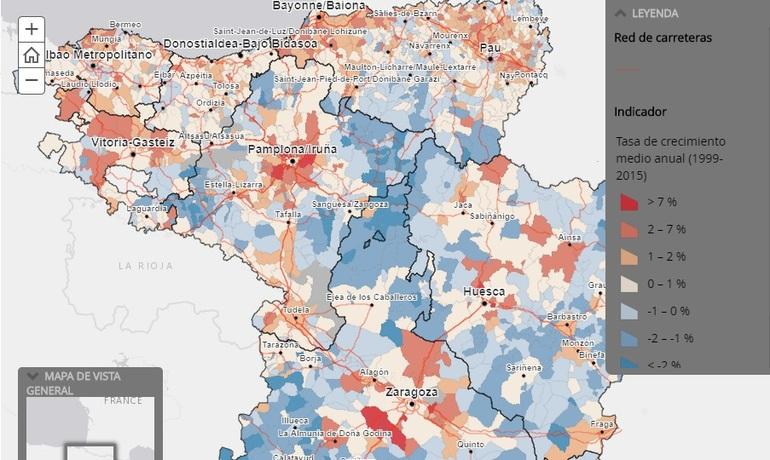 Dinámica demográfica en los municipios de los cuatro ámbitos territoriales entre 1999 y 2015.