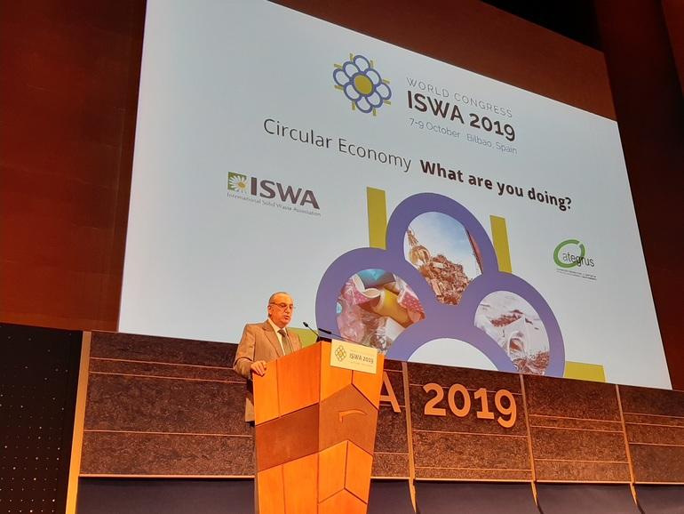 El consejero Iñaki Arriola durante la apertura del congreso internacional ISWA 2019