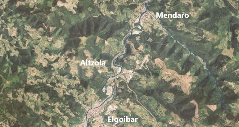 Localización de los trabajos de saneamiento en Mendaro y Altzola